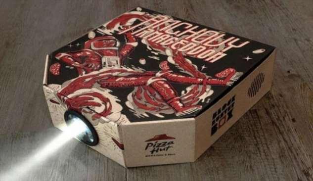 Pizza Hut  предлагает использовать пустую коробку из-под пиццы в качестве кинопроектора