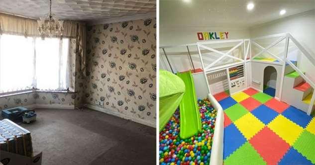 Папа построил игровую комнату для сына