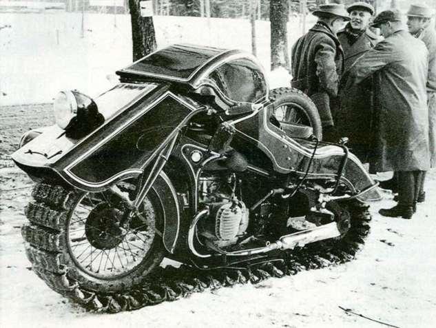 Гусеничный мотоцикл-снегоход BMW Speziel Tr500 «Schneekrad» (5 фото)