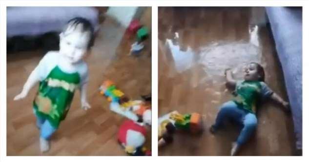 Пять минут тишины: Ребенок устроил бассейн в квартире  Интересное