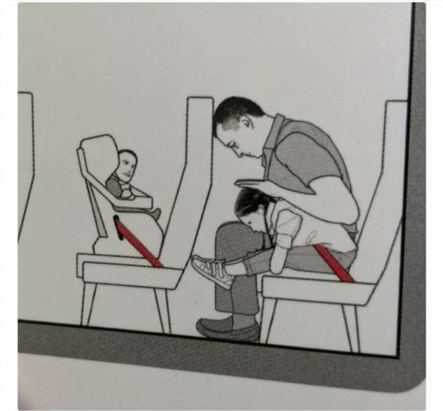 Лицо ребенка на инструкции по авиабезопасности насмешило интернет  Интересное