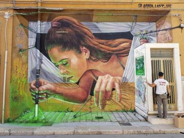 Уличный художник Том Бланко разукрасил цистерну, превратив её в гигантского реалистичного сфинкса  Интересное