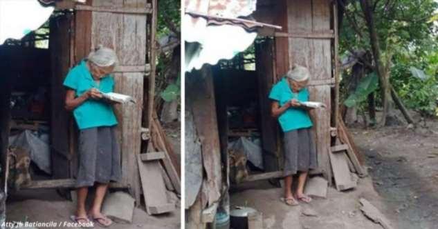 Женщина в доме без электричества выходит на улицу, чтобы почитать Библию Интересное